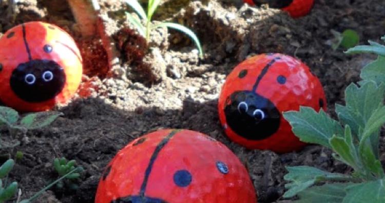 Kreatív ajándék a kertbe golflabdákból